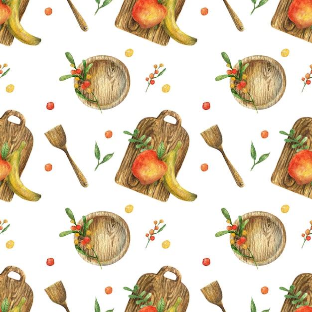 Akwarela Bezszwowy Wzór Z Ilustracją Owoc (jabłko, Banan) I Drewniani Naczynia (talerz, Deska, Szpachelka). Zdrowe Jedzenie. Wegetarianizm. Premium Zdjęcia