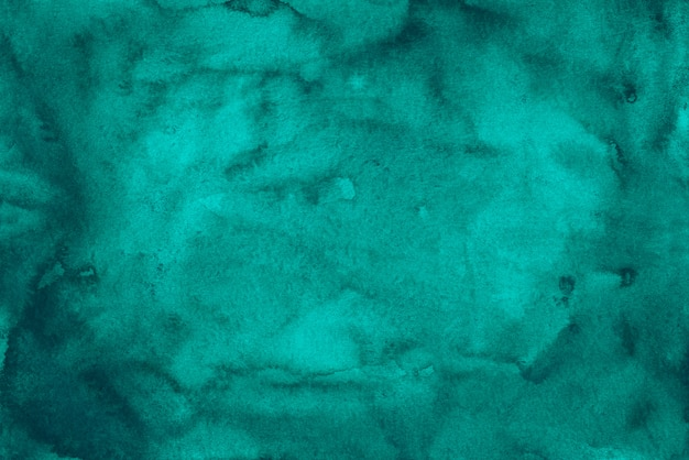 Akwarela Głęboki Turkusowy Niebieski Tekstura Tło. Aquarelle Streszczenie Morze Niebieskie Plamy Na Tle Papieru. Premium Zdjęcia