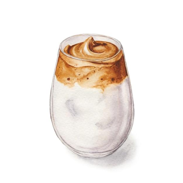 Akwarela Ilustracja Kawy Dalgona. Koreański Napój Modny Premium Zdjęcia