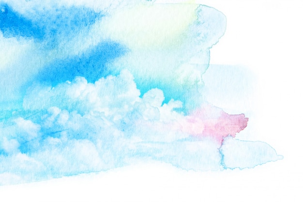 Akwarela ilustracja niebo z chmurą. Premium Zdjęcia