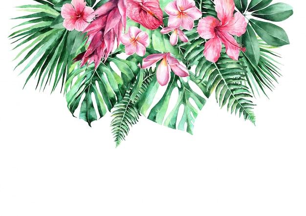Akwarela Ilustracja Tropikalnych Liści. Rama Tropikalnych Liści. Zaproszenie Na Wesele Premium Zdjęcia