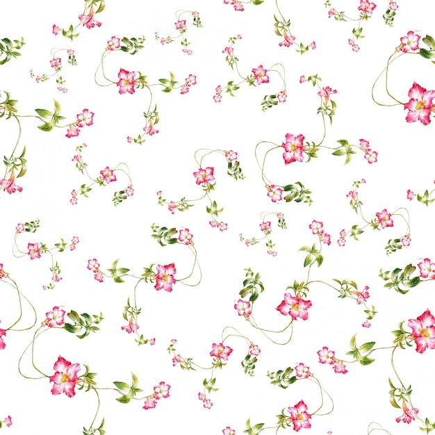 Akwarela liść i kwiaty, bezszwowy wzór na białym tle Premium Zdjęcia