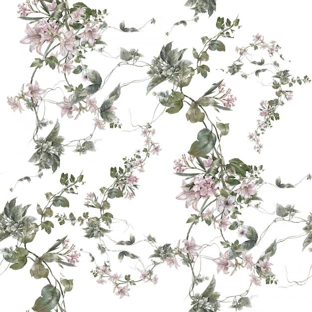Akwarela Liść I Kwiaty, Bezszwowy Wzór Na Bielu Premium Zdjęcia