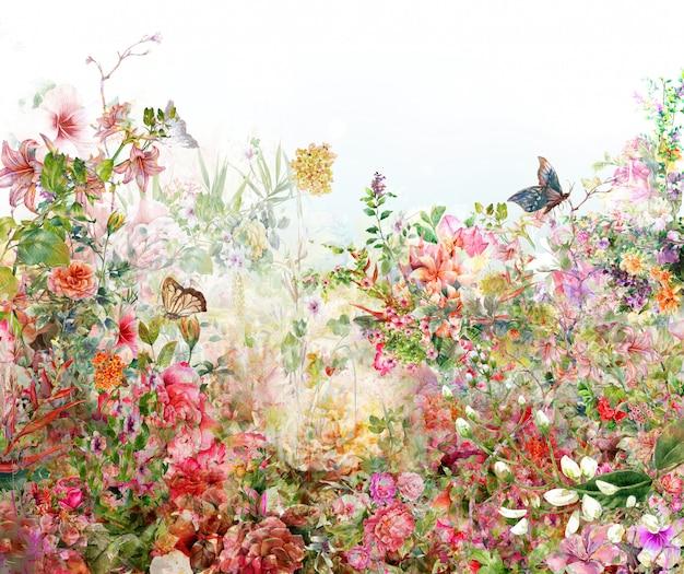 Akwarela Liści I Kwiatów Premium Zdjęcia