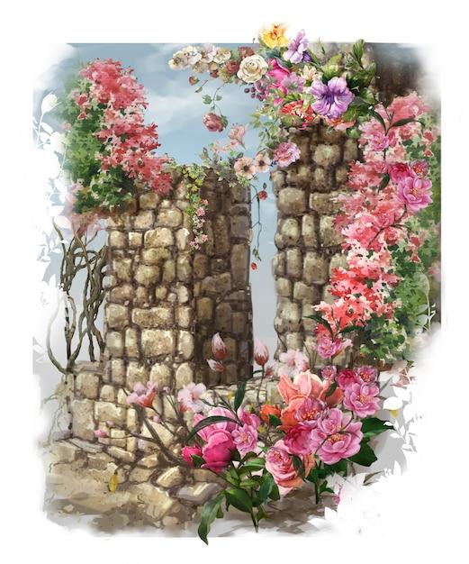 Akwarela Malarstwo Abstrakcyjne Kolorowe Kwiaty. Premium Zdjęcia