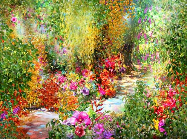 Akwarela malarstwo abstrakcyjne kwiaty. wiosenne wielokolorowe kwiaty Premium Zdjęcia