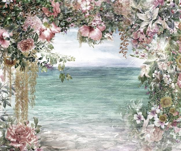 Akwarela Malarstwo Abstrakcyjne Kwiaty. Wiosna Wielokolorowe W Pobliżu Morza Premium Zdjęcia