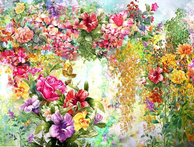 Akwarela malarstwo kwiatowe Premium Zdjęcia