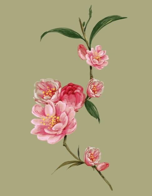 Akwarela Malarstwo Liści I Ilustracji Kwiatów Premium Zdjęcia