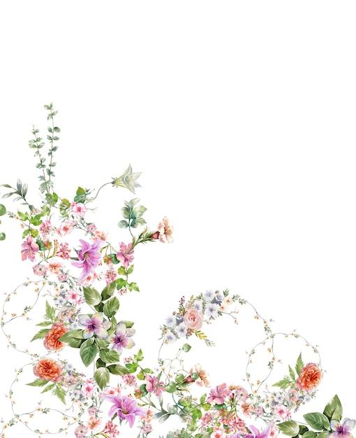 Akwarela Malarstwo Liści I Kwiatów Na Białym Tle Premium Zdjęcia
