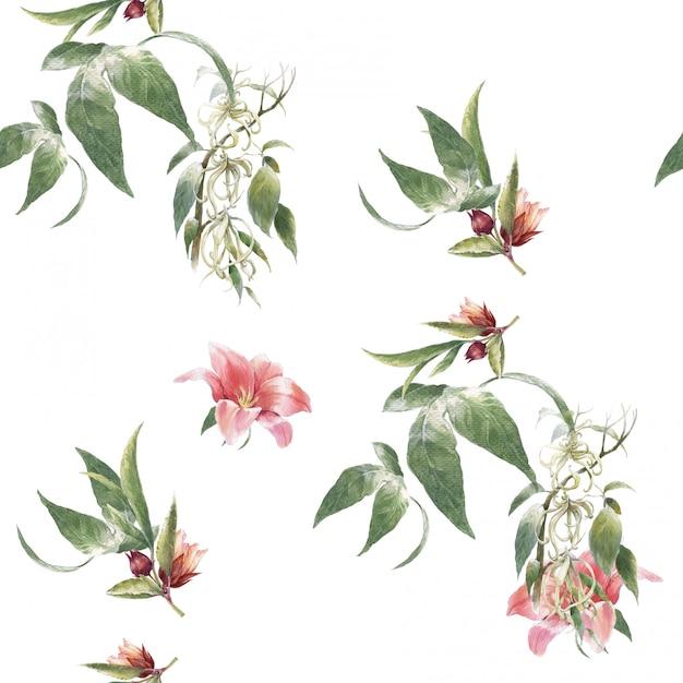 Akwarela Malarstwo Liści I Kwiatów, Wzór Na Białym Tle Premium Zdjęcia
