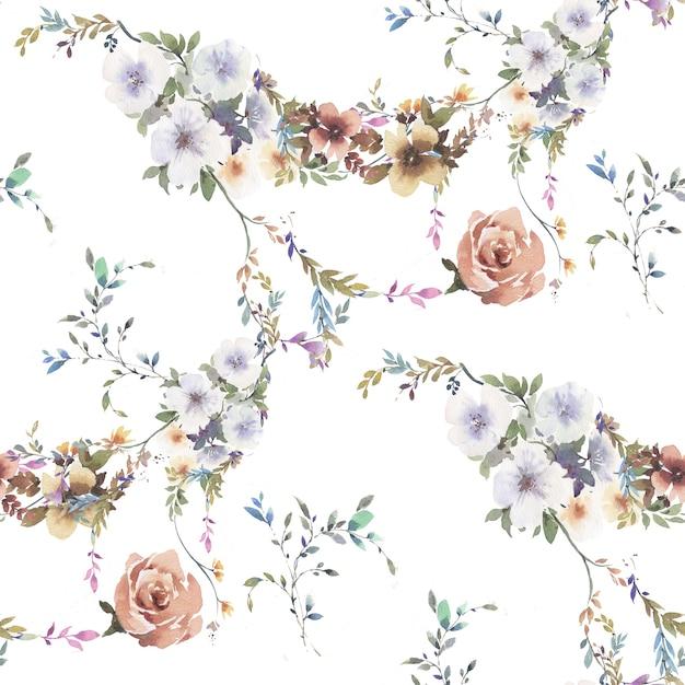Akwarela Malarstwo Liści I Kwiatów Wzór Na Białym Tle Premium Zdjęcia