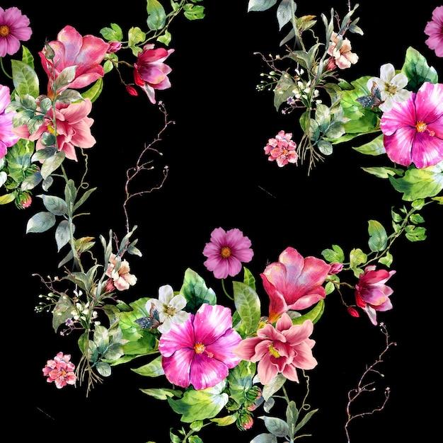 Akwarela Malarstwo Liści I Kwiatów Wzór Na Ciemny Premium Zdjęcia