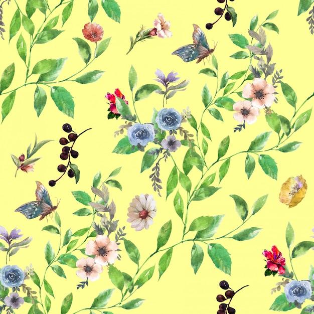 Akwarela Malarstwo Liści I Kwiatów, Wzór Premium Zdjęcia