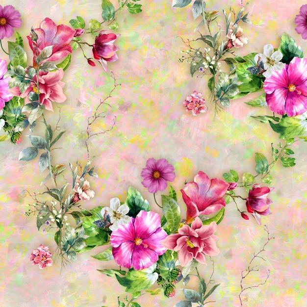 Akwarela Malarstwo Liści I Kwiatów Wzór Premium Zdjęcia