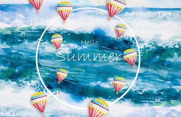 Akwarela Malarstwo Morskie Fale Plaży I Balonów Na Ogrzane Powietrze Premium Zdjęcia