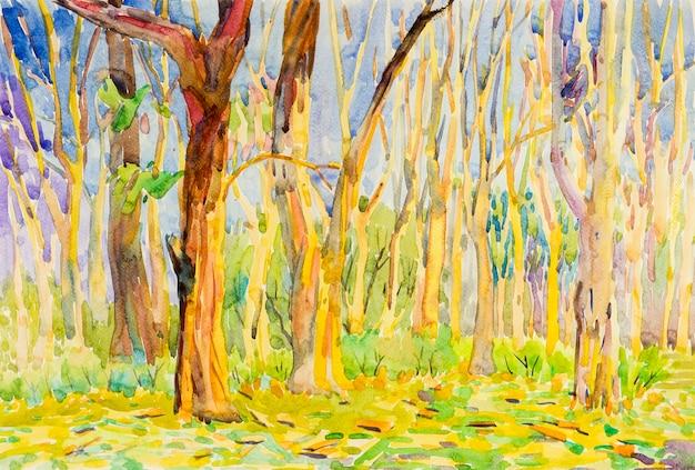 Akwarela Malarstwo Oryginalny Krajobraz Kolorowy Drzewa Ogrodowego Lasu W Sezonie Jesiennym Z Naturą Premium Zdjęcia
