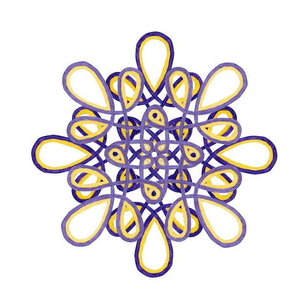 Akwarela Mandali W Kolorach Fioletowym I żółtym. Koronki Ornament Na Białym Tle. Element Wystroju. Premium Zdjęcia