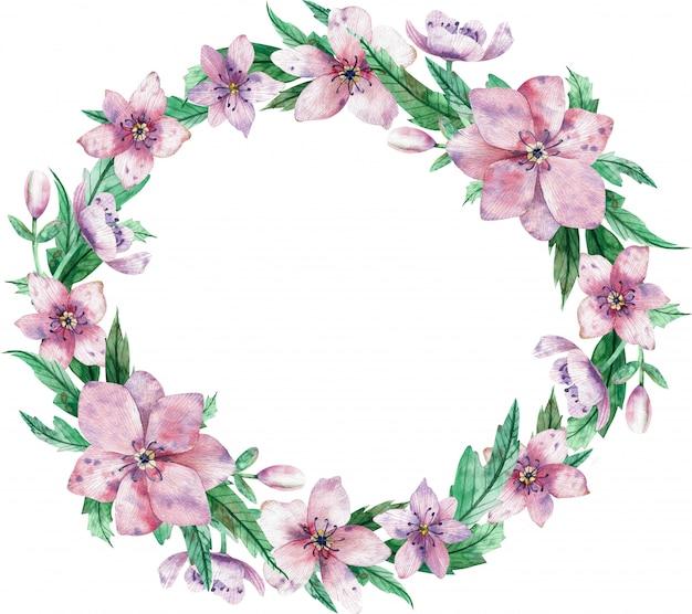 Akwarela Okrągły Różowy Wieniec Kwiatowy Z Kwiatami I Centralnej Białej Przestrzeni Dla Tekstu Premium Zdjęcia
