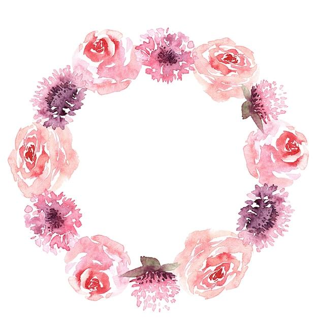 Akwarela Okrągły Wieniec Z Liści I Kwiatów Premium Zdjęcia