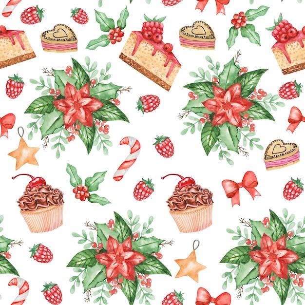 Akwarela Poinsecja Wzór, Tło Cukierki świąteczne, Słodki Zimowy Nadruk, Tekstylia Premium Zdjęcia