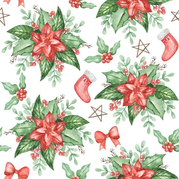 Akwarela Poinsettia Wzór, Tło Boże Narodzenie, Ręcznie Rysowane Wzór Zima, Tekstylia Premium Zdjęcia