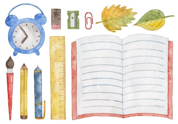 Akwarela przybory szkolne. notatnik, budzik, długopis, ołówek, pędzel. Premium Zdjęcia