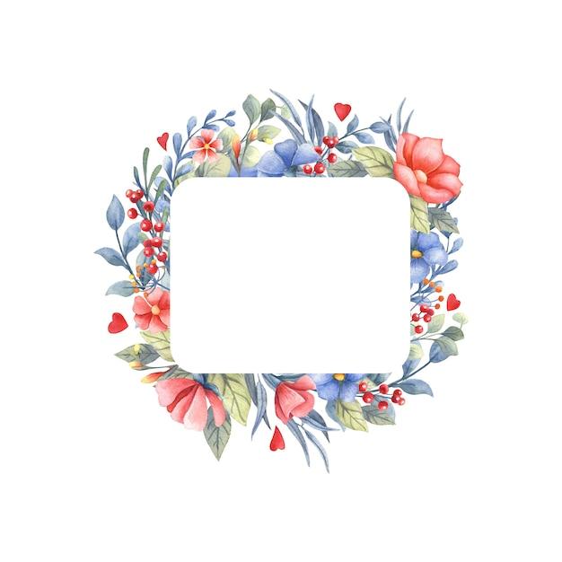 Akwarela Ramki Z Bukietem Kwiatów I Serca. Premium Zdjęcia