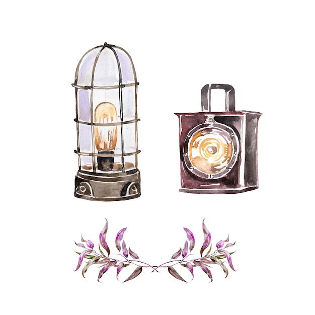 Akwarela Ręcznie Malowane Rocznika Latarnia. światło Retro Premium Zdjęcia