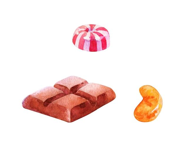 Akwarela, Ręcznie Rysowane Kawałki Czekolady I Cukierków Na Białym Tle Premium Zdjęcia