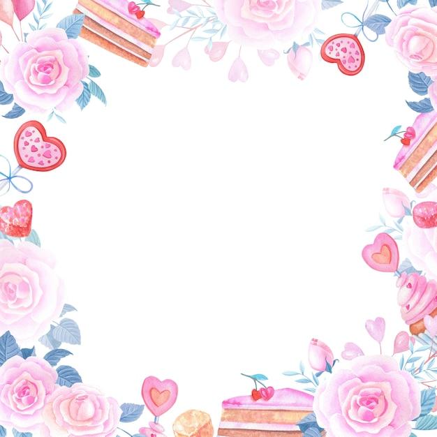 Akwarela Romantyczna Ramka Z Sercem, Różową Różą I Słodyczami Premium Zdjęcia