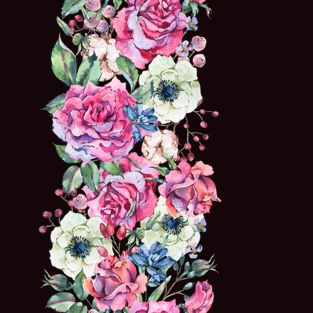 Akwarela Różowe Róże, Natura Bezszwowe Granica Z Kwiatami Premium Zdjęcia