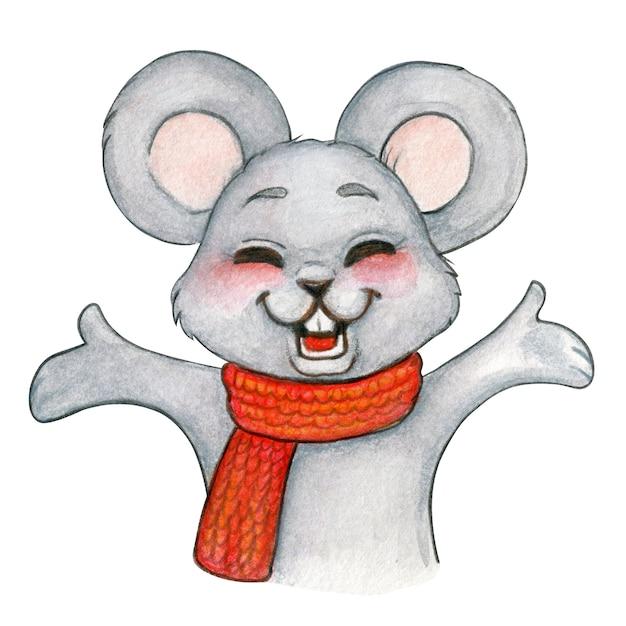Akwarela Uroczysty Myszy Szczęśliwy Otwarte Ramiona Premium Zdjęcia