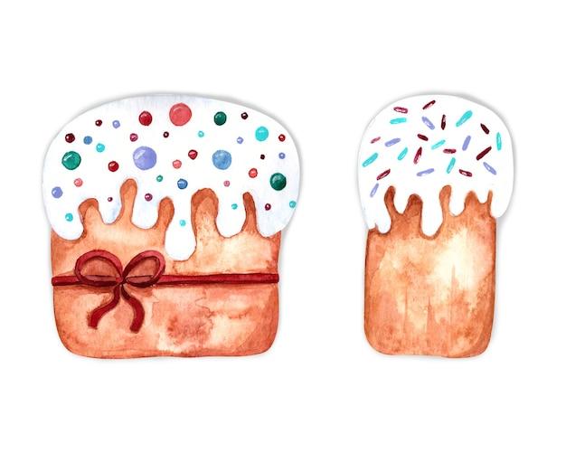Akwarela Wielkanocna Ilustracja Z Ciastami Na Białym Tle Premium Zdjęcia