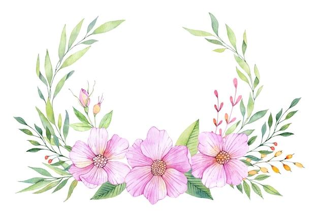 Akwarela Wieniec Kwiatowy Z Różowymi Kwiatami I Zielonymi Liśćmi Premium Zdjęcia