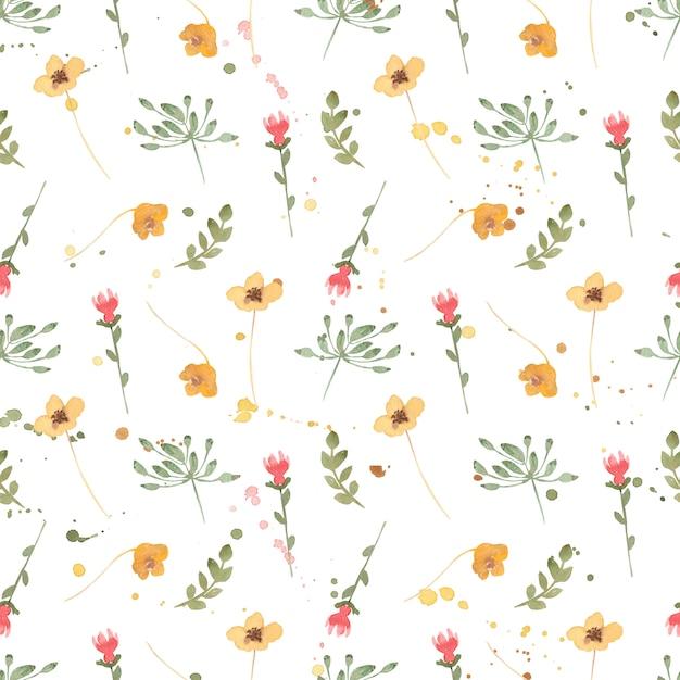 Akwarela wildflower kwiatowy wzór, delikatna tapeta z kwiatami polnymi Premium Zdjęcia