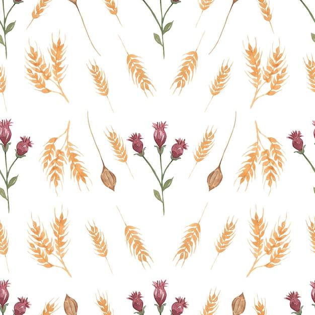 Akwarela Wildflower Kwiatowy Wzór, Tapeta Delikatny Bukiet Kwiatów. Premium Zdjęcia