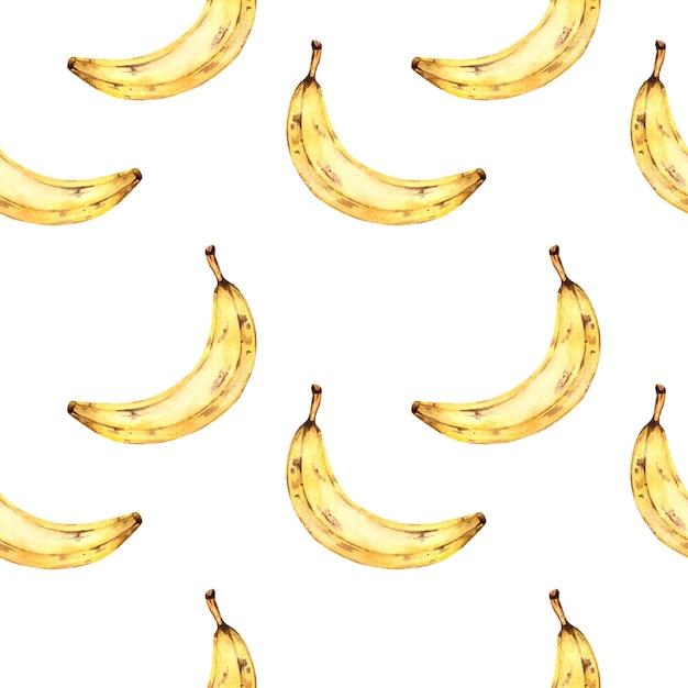 Akwarela Wzór Z Bananami, Akwarela Na Białym Tle Z Owocami Tropikalnymi. Premium Zdjęcia