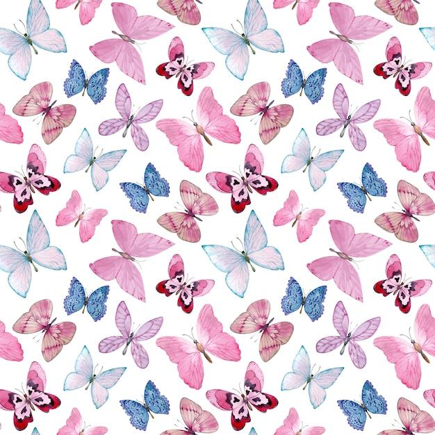 Akwarela Wzór Z Pięknymi Motylami. Ręcznie Rysowane Różowe I Niebieskie Motyle Na Białym Tle Premium Zdjęcia