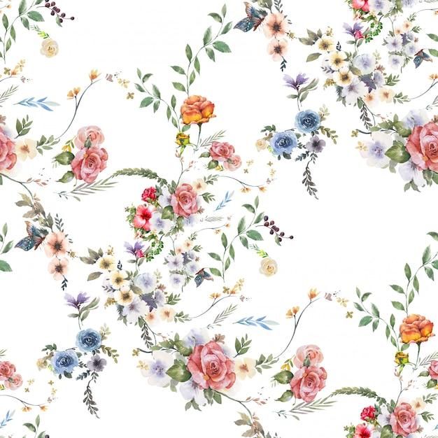 Akwarela Z Liści I Kwiatów, Bez Szwu Premium Zdjęcia