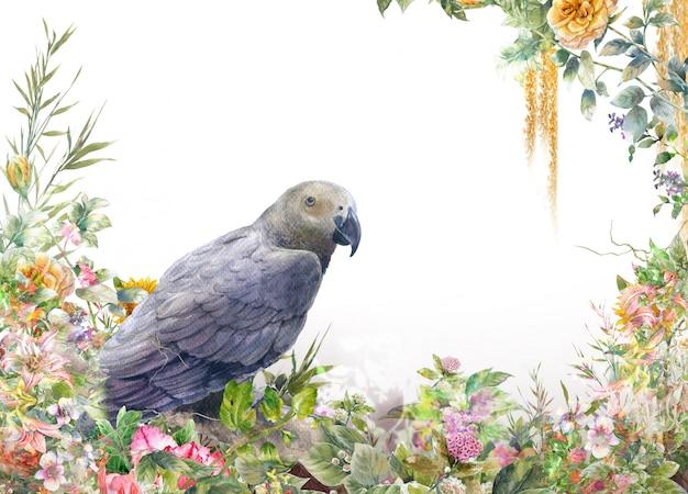 Akwarela Z Ptakiem I Kwiatami Na Białym Tle Premium Zdjęcia