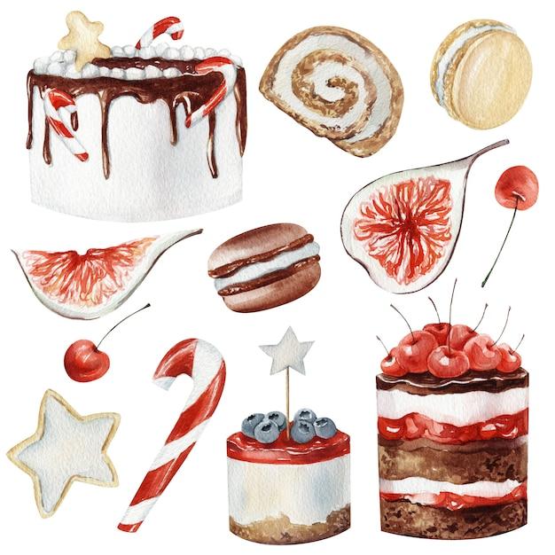 Akwarela zimowe desery świąteczne Premium Zdjęcia