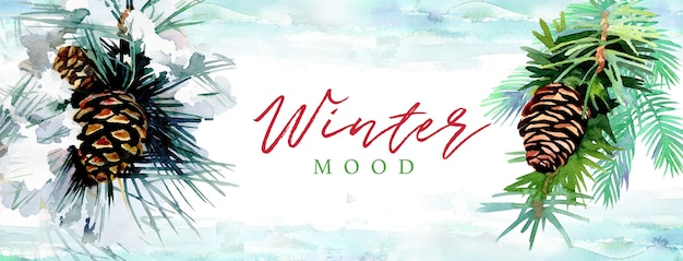 Akwarele Ręcznie Malowane Szyszki Z Tekstem Zimowy Nastrój Premium Zdjęcia