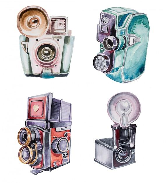 Akwarele Ręcznie Malowane Zabytkowe Aparaty. Premium Zdjęcia