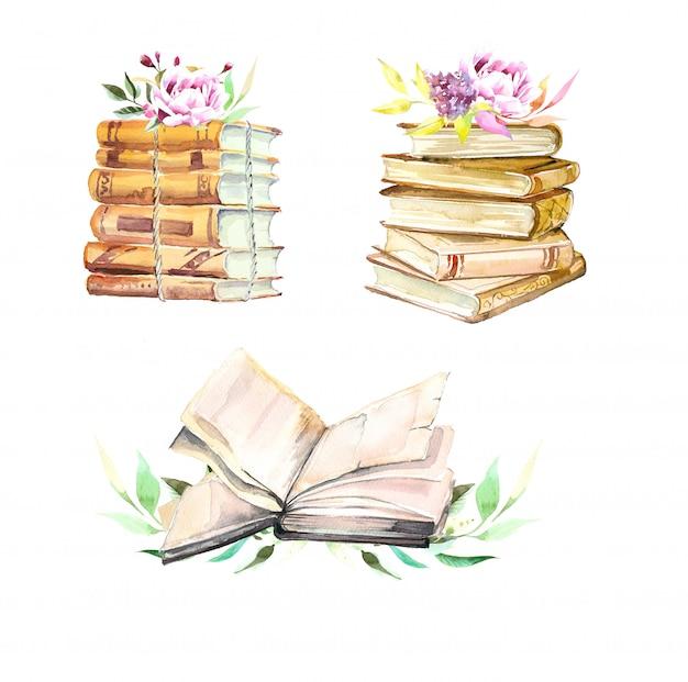 Akwareli Książki Brogują I Kwitną Ilustrację Odizolowywającą Na Bielu Premium Zdjęcia