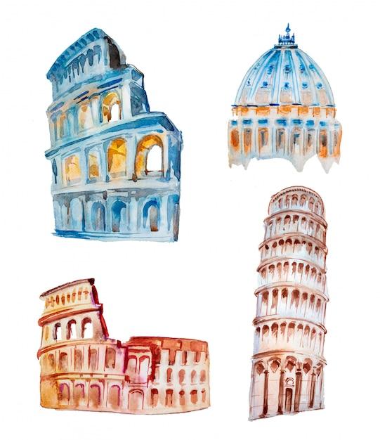 Akwareli Ręcznie Malowana Włoska Architektury Ilustracja. Premium Zdjęcia