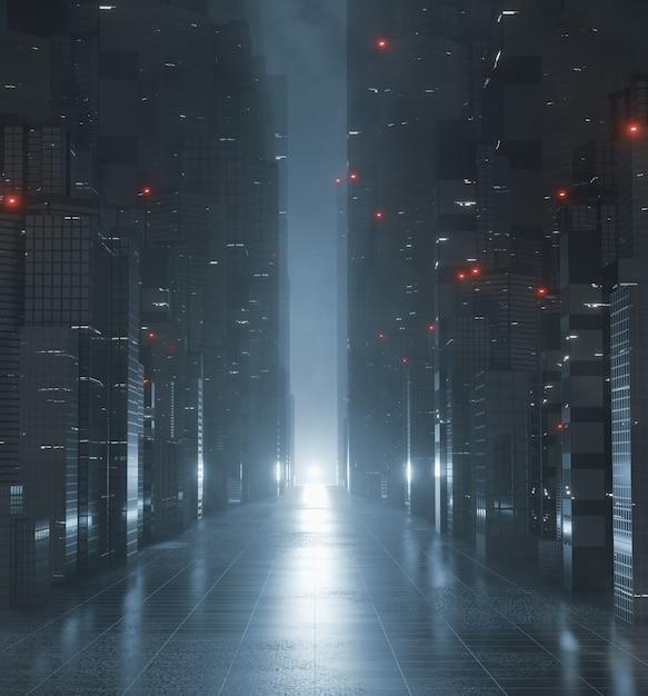 Aleja W Mieście Z Mocnym Odbiciem światła Na Podłodze Premium Zdjęcia