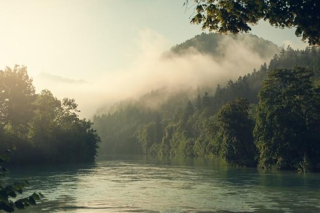 Alpy i mgła w porannym słońcu Premium Zdjęcia