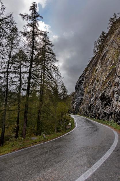 Alpy, Włochy. Górska Droga W Pochmurny Dzień Na Jesieni Premium Zdjęcia