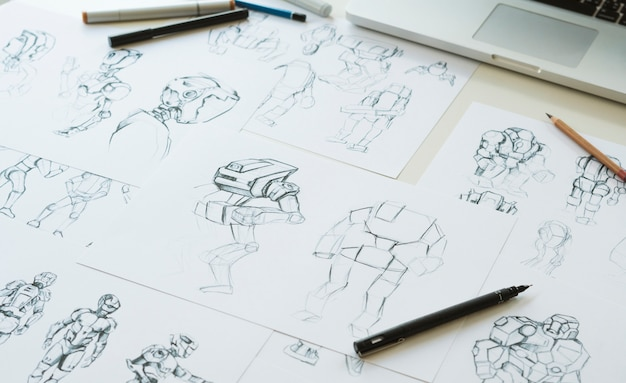 Animacja Postaci Postaci Produkcja Filmów Z Gier Wideo Premium Zdjęcia